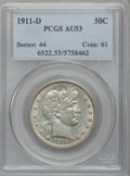 Barber Half Dollars: , 1911-D 50C AU53 PCGS. PCGS Population (5/142). NGC Census: (2/89).Mintage: 695,080. Numismedia Wsl. Price for problem free...