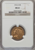 Indian Half Eagles: , 1916-S $5 MS61 NGC. NGC Census: (331/467). PCGS Population(101/567). Mintage: 240,000. Numismedia Wsl. Price for problem f...