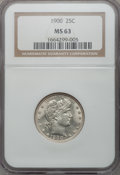 Barber Quarters: , 1900 25C MS63 NGC. NGC Census: (40/132). PCGS Population (39/98).Mintage: 10,016,912. Numismedia Wsl. Price for problem fr...