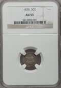 Three Cent Silver: , 1870 3CS AU55 NGC. NGC Census: (1/76). PCGS Population (7/43).Mintage: 3,000. Numismedia Wsl. Price for problem free NGC/P...