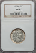 Barber Quarters: , 1904-O 25C AU50 NGC. NGC Census: (3/78). PCGS Population (7/89).Mintage: 2,456,000. Numismedia Wsl. Price for problem free...