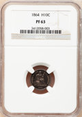 Proof Seated Half Dimes: , 1864 H10C PR63 NGC. NGC Census: (26/72). PCGS Population (47/71).Mintage: 470. Numismedia Wsl. Price for problem free NGC/...