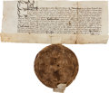 Autographs:Non-American, Document with Great Seal of Queen Elizabeth I, 1577....