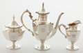 Silver Holloware, American:Coffee Pots, Whoopi Goldberg Collection. SHREVE THREE-PIECE SILVER COFFEESERVICE . San Francisco, California, 20th century . Mark... (Total:3 Items)