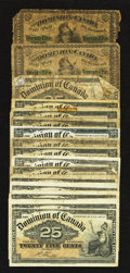 Canadian Currency: , DC-1c 25¢ 1870 Two Examples AG or Better. DC-15a 25¢ 1900 VF.DC-15b 25¢ 1900 Twelve Examples Good or Better. DC-15c 25¢ 1900 ...(Total: 16 notes)