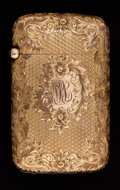 Silver Smalls:Match Safes, AN AMERICAN GOLD MATCH SAFE . Maker unknown, American, circa 1900.Marks: K10K. 2-1/4 inches high (5.7 cm). 0.91 troy ...