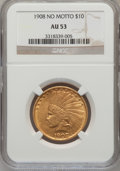 Indian Eagles: , 1908 $10 No Motto AU53 NGC. NGC Census: (8/618). PCGS Population(23/691). Mintage: 33,500. Numismedia Wsl. Price for probl...