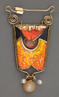 Silver Smalls:Other , A WILLIAM HARPER GOLD CLOISONNÉ ENAMEL, PEARL AND MOONSTONEBROOCH/PENDANT: RED PORTAL . William Harper, New York, ...