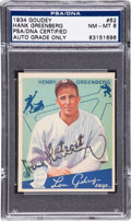 Baseball Cards:Singles (1930-1939), Signed 1934 Goudey Hank Greenberg #62 PSA/DNA NM-MT 8. The Only Signed Example on the Pop Report!...