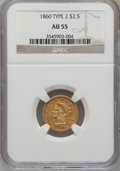 Liberty Quarter Eagles: , 1860 $2 1/2 New Reverse, Type Two AU55 NGC. NGC Census: (11/68).PCGS Population (18/52). Mintage: 22,675. Numismedia Wsl. ...