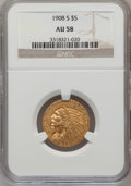 Indian Half Eagles: , 1908-S $5 AU58 NGC. NGC Census: (107/223). PCGS Population(52/255). Mintage: 82,000. Numismedia Wsl. Price for problem fre...
