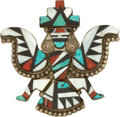 American Indian Art:Jewelry and Silverwork, A ZUNI SILVER, STONE AND SHELL BROOCH. c. 1950...