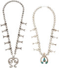 American Indian Art:Jewelry and Silverwork, TWO NAVAJO SILVER SQUASH BLOSSOM NECKLACES. c. 1950 and 1970...(Total: 2 Items)