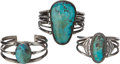 American Indian Art:Jewelry and Silverwork, THREE NAVAJO SILVER AND TURQUOISE BRACELETS. c. 1940... (Total: 3Items)