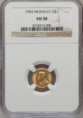 Commemorative Gold: , 1903 G$1 Louisiana Purchase/McKinley AU58 NGC. NGC Census:(54/1912). PCGS Population (119/2852). Mintage: 17,500. Numismed...