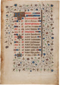 Books:Illuminated Manuscripts, Liturgical Calendar Page From a French Book of Hours Listing the Saints' Days to Be Observed For the Month of January, Ca. 146...