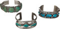 American Indian Art:Jewelry and Silverwork, THREE NAVAJO SILVER AND TURQUOISE BRACELETS. c. 1940 - 1950...(Total: 3 Items)