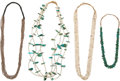American Indian Art:Jewelry and Silverwork, FOUR PUEBLO SHELL NECKLACES. c. 1940 - 1980... (Total: 4 Items)