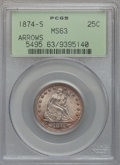 Seated Quarters, 1874-S 25C Arrows MS63 PCGS....