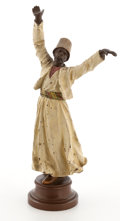 19th Century European:Orientalism, FROM A PRIVATE HOUSTON COLLECTOR . FRANZ XAVIER BERGMAN (AUSTRIAN,1861-1936) COLD-PAINTED FIGURAL BRONZE: WHIRLING DE...