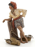 19th Century European:Romanticism, FROM A PRIVATE HOUSTON COLLECTOR. FRANZ XAVIER BERGMAN (AUSTRIAN,1861-1936) COLD-PAINTED FIGURAL BRONZE: FISH SELLER ...