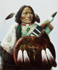 Fine Art - Painting, American:Contemporary   (1950 to present)  , TROY DENTON (American, b. 1949). Portrait of an Indian withShield. Oil on canvas. 23-1/2 x 19-1/2 inches (59.7 x 49.5 c...