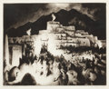American:Western, GENE KLOSS (American, 1903-1996). Christmas Eve - Taos PuebloII, 1946. drypoint and aquatint. 11-7/8 x 15 inches (30.2 ...