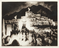 GENE KLOSS (American, 1903-1996) Christmas Eve - Taos Pueblo II, 1946 drypoint and aquatint 11-7/