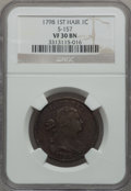 Large Cents, 1798 1C First Hair Style VF30 NGC. S-157, B-15, R.2....