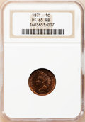 Proof Indian Cents, 1871 1C PR65 Red and Brown NGC....