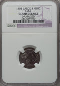 Early Half Dimes: , 1803 H10C Large 8--Damaged--NGC Details. Good. LM-2. NGC Census:(1/34). PCGS Population (2/88). Mintage: 37,850. Numismed...