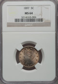 Liberty Nickels: , 1897 5C MS64 NGC. NGC Census: (144/62). PCGS Population (192/90).Mintage: 20,428,736. Numismedia Wsl. Price for problem fr...
