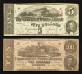 Confederate Notes:1862 Issues, $10 1862 and $5 1863.. ... (Total: 2 notes)