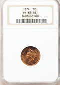 Proof Indian Cents: , 1874 1C PR65 Red and Brown NGC. NGC Census: (35/15). PCGSPopulation (33/8). Mintage: 700. Numismedia Wsl. Price forproble...