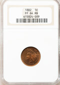 Proof Indian Cents: , 1882 1C PR64 Red and Brown NGC. NGC Census: (140/170). PCGS Population (107/98). Mintage: 3,100. Numismedia Wsl. Price for ...