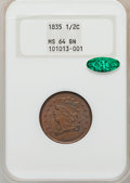 Half Cents: , 1835 1/2 C MS64 Brown NGC. CAC. NGC Census: (209/103). PCGSPopulation (110/22). Mintage: 398,000. Numismedia Wsl. Price fo...