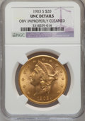 Liberty Double Eagles, 1903-S $20 --Obverse Improperly Cleaned-- NGC Details. Unc. NGCCensus: (316/5434). PCGS Population (231/4444). Mintage: 954...