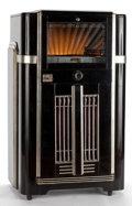 Paintings, Whoopi Goldberg Collection. SEEBURG SYMPHONOLA JUKE BOX IN BLACK LACQUER AND SILVERED CASE . Circa 1940. 50-1/4 x 30-...