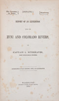 Books:Americana & American History, Captain L. Sitgreaves. Report of an Expedition Down the Zuni andColorado Rivers. Washington: Beverley Tucker, S...