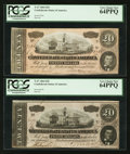 Confederate Notes:1864 Issues, T67 $20 1864. Two Examples. . ...