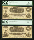 Confederate Notes:1862 Issues, T40 $100 1862 Consecutive Pair.. ... (Total: 2 notes)
