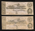 Confederate Notes:1862 Issues, T53 $5 1862 Two Examples.. ... (Total: 2 notes)