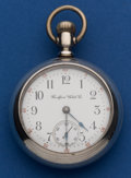 Timepieces:Pocket (post 1900), Rockford 18 Size Coin Silver Gold Locomotive Inlay Pocket Watch....