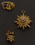 Estate Jewelry:Brooches - Pins, Three Antique Gold & Pearl Pins. ... (Total: 3 Items)