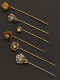 Estate Jewelry:Stick Pins and Hat Pins, Six Early Gold & Diamond Stick Pins. ... (Total: 6 Items)