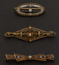 Estate Jewelry:Brooches - Pins, Vintage Gold & Diamond Pins. ... (Total: 3 Items)