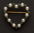 Estate Jewelry:Brooches - Pins, Unique Pearl & Turquoise Heart Pin. ...