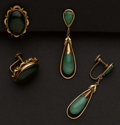Estate Jewelry:Earrings, Unique Two Gold & Jade Earrings. ... (Total: 2 Items)