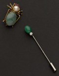 Estate Jewelry:Brooches - Pins, Two Gold & Jade Pins. ... (Total: 2 Items)