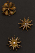 Estate Jewelry:Brooches - Pins, Three Antique Gold Pins. ... (Total: 3 Items)